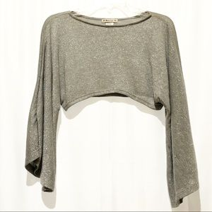 Forever 21 Glitter Crop Silver Bell Sleeve Large